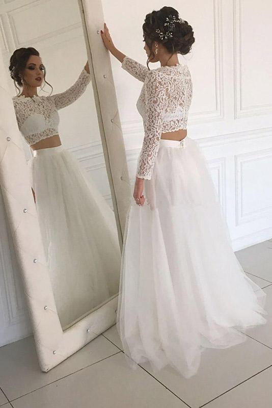 Long Sleeve Lace Round Neck Ivory Boho Wedding Dresses with Tuule, Beach Bridal Dresses W1025