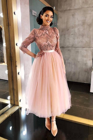 products/Long_Sleeve_Pink_High_Neck_Ankle_Length_Homecoming_Dresses_Beads_Tulle_Short_Dress_H1102-2.jpg