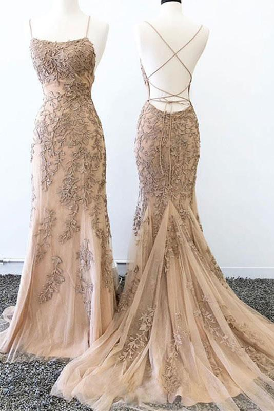 Mermaid Lace Appliques Spaghetti Straps Criss Cross Prom Dresses, Long Evening Dress P1009