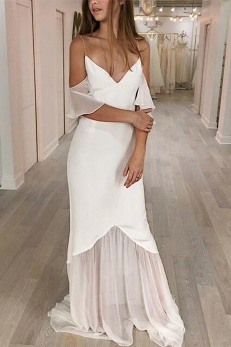 Mermaid Spaghetti Straps Cold Shoulder Wedding Dresses, Prom Dresses uk PW416