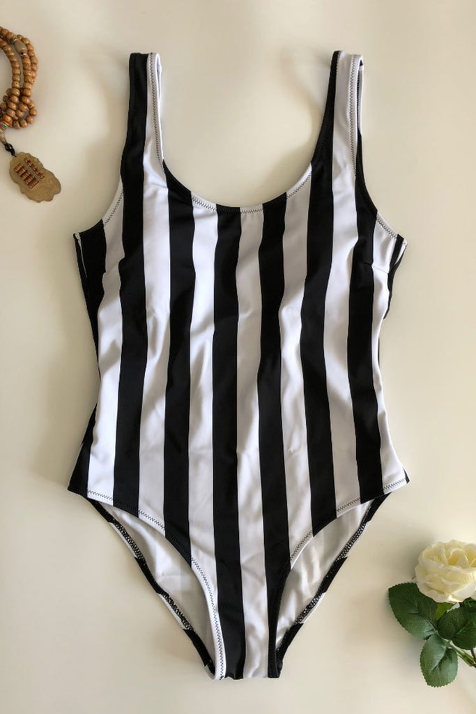 One Piece Nautical Mono Vertical Striped Swimsuit SO205