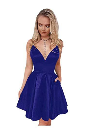 Navy Blue Spaghetti Straps V Neck Homecoming Dresses with Pockets, V Neck Cocktail Dress H1093
