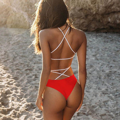 Cross Braided One Piece Strappy Monokini One Piece Swimsuit SO005