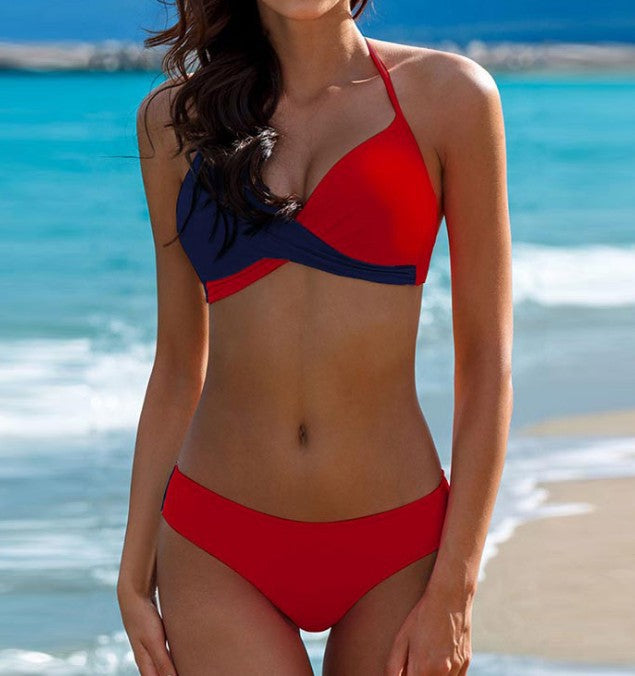 Color Block Push Up Twist Front Halter Brazilian Bikini Swimsuit SB251