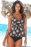 Pretty Black Floral Bowknot Flare Deep V Neck Tankini Swimsuit SK079