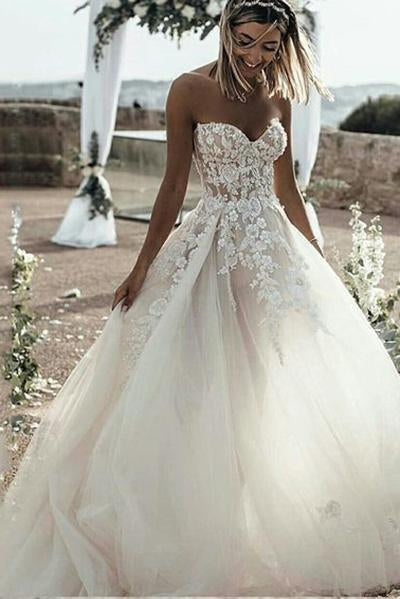 Princess A Line Sweetheart Tulle Lace Applique Ivory Wedding Dress, Long Bridal Dresses PW921