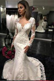 Sexy White Yarn Button Back Long Sleeve Lace Mermaid Charming Chapel Trailing Wedding Dress PH171