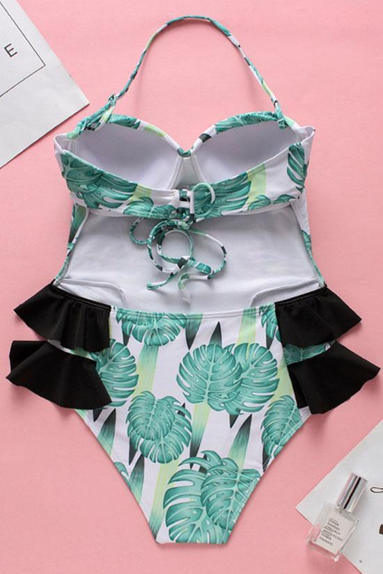 Ruffle Bandeau Monokini One Piece Tropical Palm Leaf Swimsuit SK001