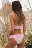 Striped Floral Triangle Halter Bikini Swimsuit with Ruffles SB365