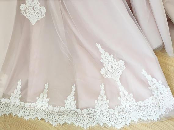 A Line Nude Tulle Pink Lace Appliqued Ball Gown Lace up Beach Wedding Dresses uk PH918
