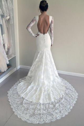 Long Sleeves Open Back Lace Appliques Scoop Mermaid Long Beach Wedding Dresses uk PH844