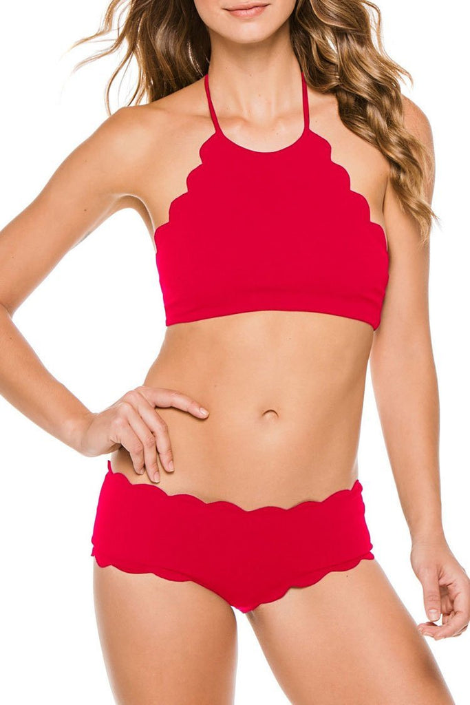Scalloped Edge High Neck Bikini Sets SB155