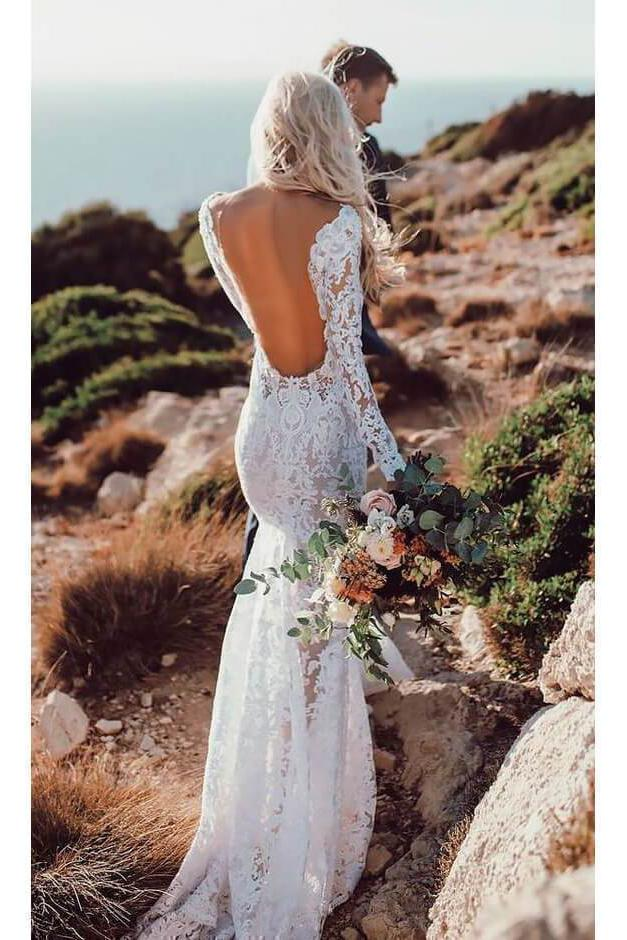See Through V Neck Lace Rustic Wedding Dresses Long Sleeve Mermaid Wedding Dress PW812