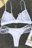 Sexy White/Black Mesh Flower Triangle Bikini Set Swimsuit B0010