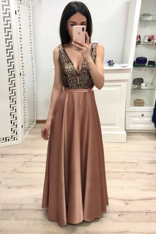 Simple A Line Long V Neck Brown Prom Dresses With Beads, Cheap Party Dresses PW900