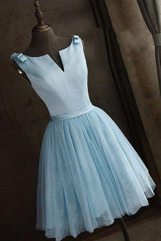 Simple Baby Blue Satin Short V Neck Prom Dress, Halter V Neck Bridesmaid Dresses H1085