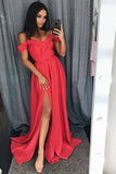 Simple Cold Shoulder Red Satin Straps Prom Dresses A Line with Split Evening Dresses PW668