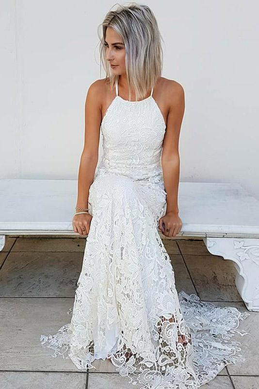 Simple Halter Mermaid Lace Appliques Wedding Dress, Backless Beach Bridal Gowns PW937