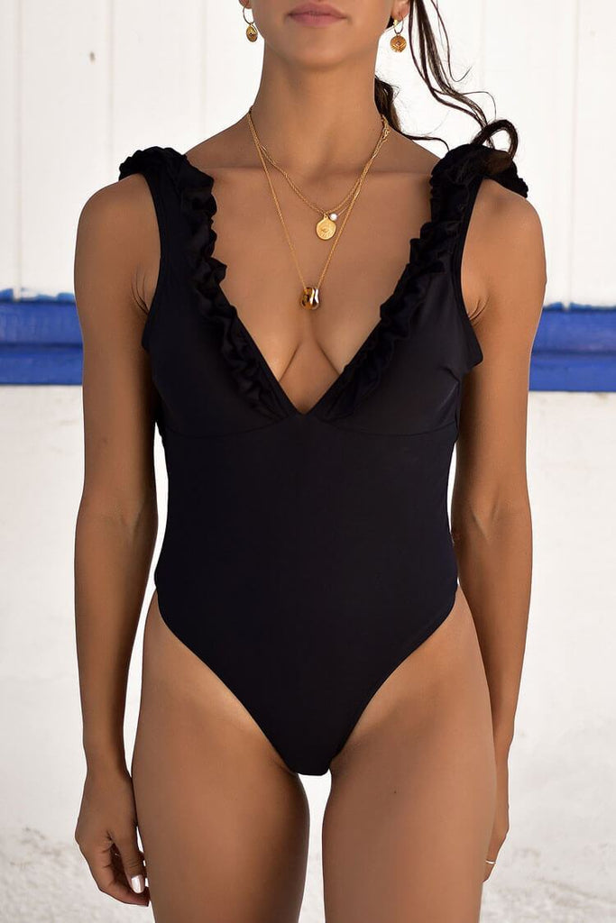 One Piece Solid High Leg Low Back Ruffle Deep V Swimsuit SO427
