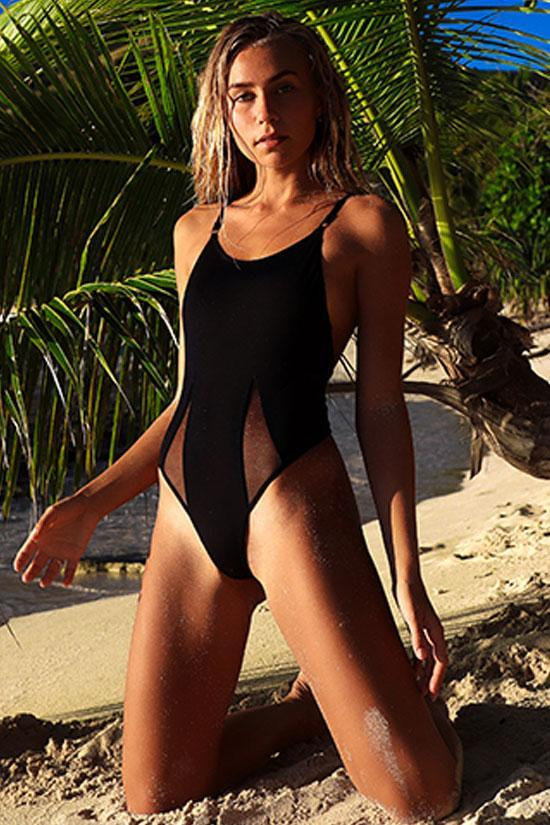 One Piece Solid Low Back Splicing Mesh Swimsuit SO421