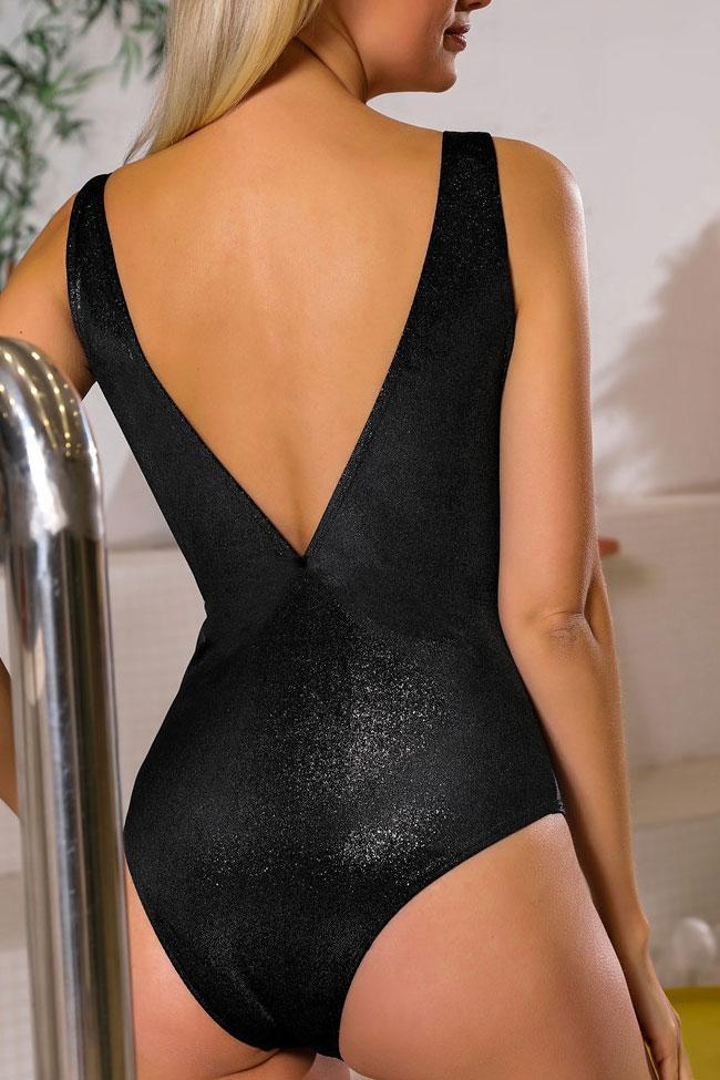 One Piece Solid Metallic Cutout Front Plunged Swimsuit SO359