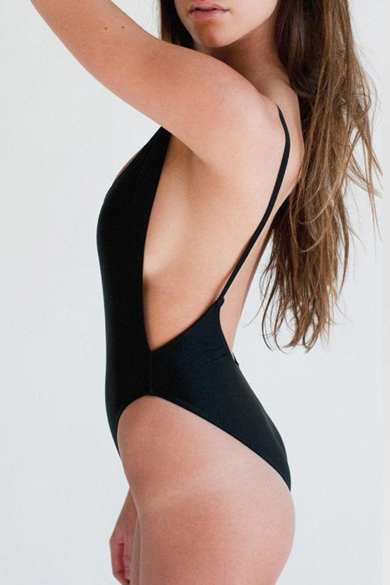 Solid Monokini One-piece Open Back High Cut Leg Swimsuit SK055