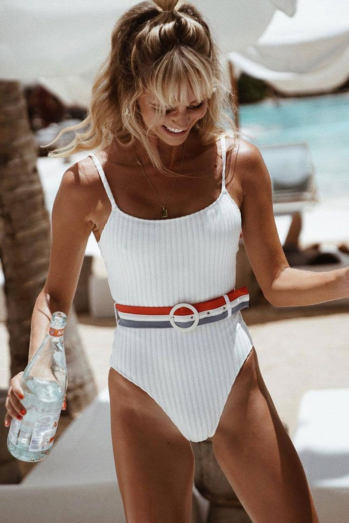 One Piece Sport Ribbed High Leg Swimsuit with Striped Belt SO032