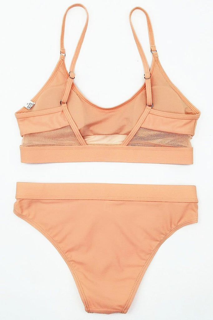 Solid Sportive Splicing Mesh Bikini Swimsuit SB263