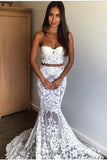 Strapless Lace Two Piece Sweetheart Mermaid Wedding Dresses, Long Bridal Dresses PW688