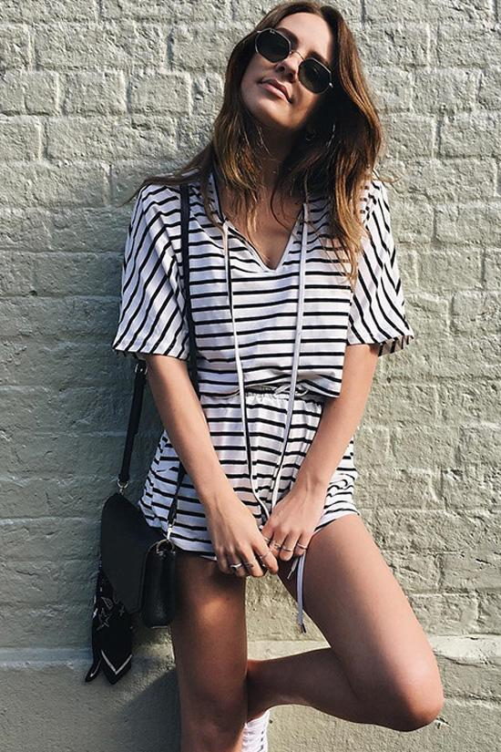 Striped Crop Top with Shorts BS71