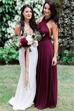 Charming Burgundy A-Line Halter Backless Maroon Chiffon Bridesmaid Dress with Sash PM16