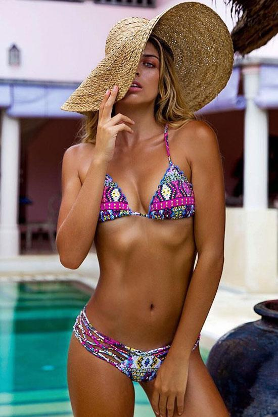 Charming Triangle Tropical Printed Bikini Swimsuit SB279