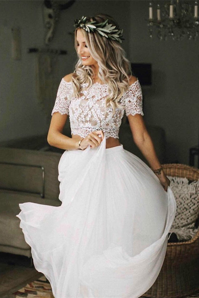 Two Pieces Short Sleeve Off the Shoulder Ivory Lace Wedding Dresses with Chiffon W1023
