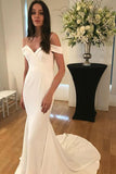 Unique Spaghetti Straps Sweetheart Ivory Mermaid Wedding Dress, Long Bridal Dress W1000