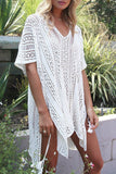 V Neck Crochet Tunic Coverup BS111