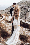 Vintage Lace Applique Long Sleeve Scoop Wedding Gowns, Cheap Mermaid Wedding Dress PW814