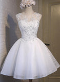 White Simple Graduation Dress, Scoop Tulle Straps Homecoming Dresses with Lace up H1063