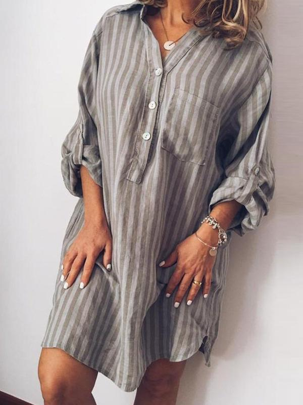 Above Knee Button Nine Points Sleeve Single-Breasted Stripe Dress BS343