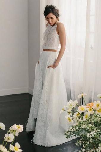 Two Piece Crew Sleeveless Sweep Train Open Back Ivory Lace Cheap Wedding Dresses uk PW206