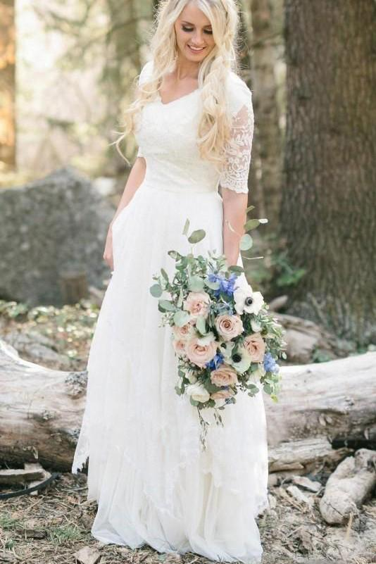 Bohemian Forest A Line V Neck Half Sleeves Sweetheart Lace Chiffon Wedding Dresses uk PW273