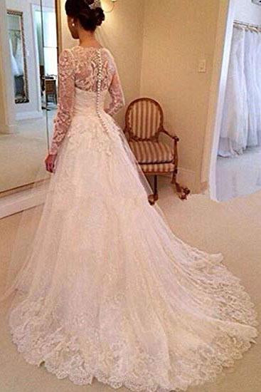 A-Line Lace Appliques V Neck Tulle Long Sleeve Ivory Covered Buttons Wedding Dresses PW327
