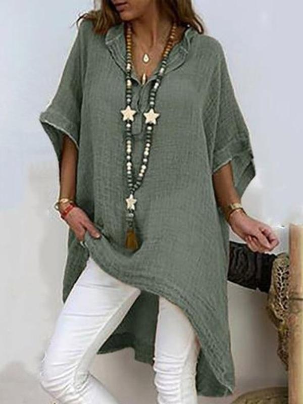 Plain Asymmetric Three-Quarter Sleeve Long Blouse BS171