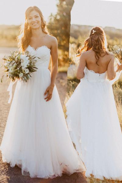 Elegant Tulle Beach 2018 Sweetheart Lace A line Simple Plus Size Country Wedding Dress PM714