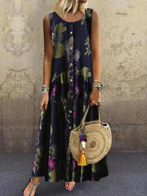 Ankle-Length Sleeveless Print Plant A-Line Dress BS260