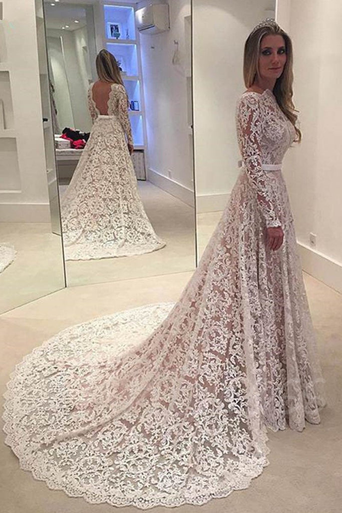 A-Line Backless Bowknot Scalloped Ivory Long Sleeve Backless Lace Wedding Dresses UK PH330
