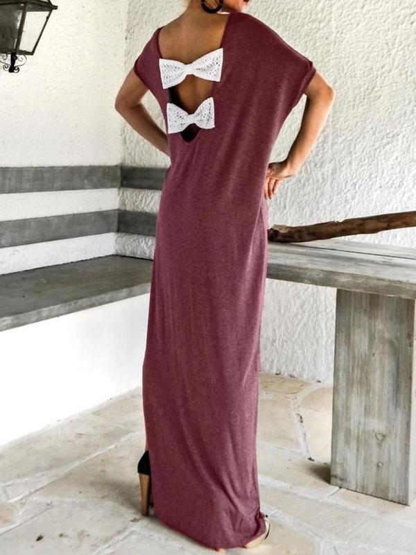 Bowknot Short Sleeve Floor-Length Pullover Batwing Sleeve Dress BS308
