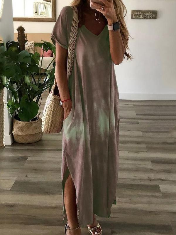Split Ankle-Length Short Sleeve Casual Pullover Dress BS207