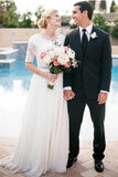 Lace A-Line Beading Ivory Scoop Chiffon Half Sleeve Floor-Length Wedding Dresses uk PH312