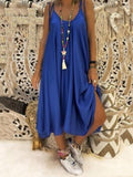Sleeveless Lace-Up Mid-Calf Spaghetti Strap Summer Dress BS210