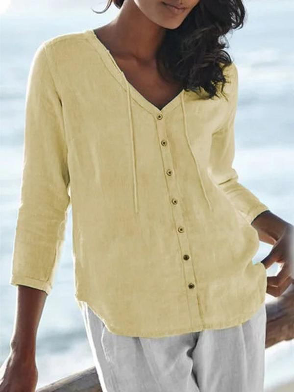 Button Regular Plain Standard Three-Quarter Sleeve Blouse BS194